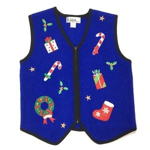 Christmas Vest Ugly Sweater Party Holly Candy Cane